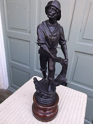 """Antique Large Victorian French Spelter Fisherman Figurine, 21"""""""