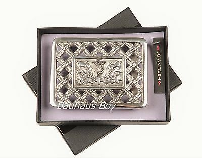 Kilt Buckle Latice Thistle Design Polished Pewter Finish Made In Scotland Kilts