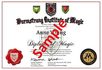 Harry Potter - Durnstrang or Beaubaxton - Diploma of Magic (Certificate)