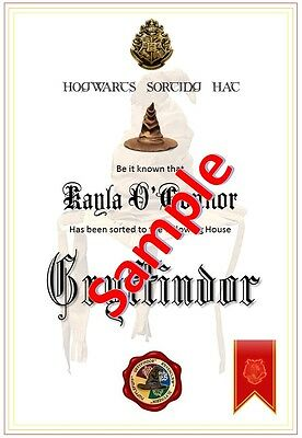 Harry Potter / Hogwarts - House Sorting Hat Certificate