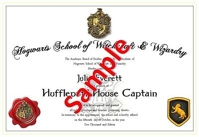 Harry Potter / Hogwarts - House Captain Certificate (All Houses)