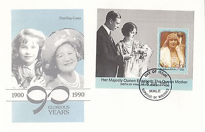 (94798) CLEARANCE Maldives FDC Queen Mother 90th Birthday MS Male 8 July 1990