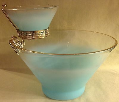 "1950's Mid Century Vintage BLENDO Blue 10.75"" CHIP and DIP 5.25"" Small Bowl"