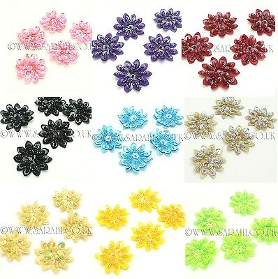 PACK OF 5 SEQUIN FLOWER  BEADED APPLIQUE,MOTIF, edging,trim,sequins,beads