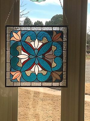 "Suncatcher - Victorian Stained Glass Panel 16 6/8"" X 16 1/2"""