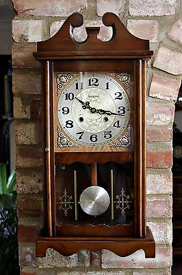 Vintage Mechanical 'Nentime' 31-Day Wall Clock with Chimes & Key