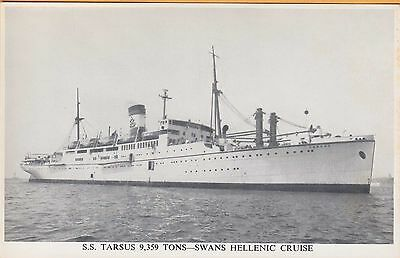 SWANS HELLENIC CRUISE LINES ~ S.S. TARSUS - 9,357 TONS ~ c1950