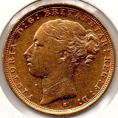 1887 Full Gold Sovereign Queen Victoria Young Head. Minted in Sydney, Australia