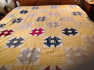 Amazing! Charming! Antique, Early 1900's Quilt Top, Churn Dash Pattern