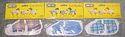 Breyer traditional horse foal tack stable blankets blue pink plaid lot of 3