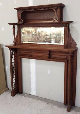 Beautiful Antique Victorian Cherry Stick & Ball Carved Fireplace Mantle & Mirror