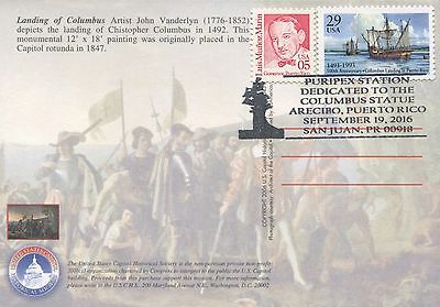 Puerto Rico PURIPEX Columbus statue cancellation on stamps