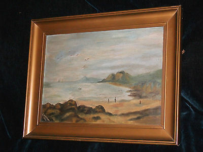 Original Victorian oil painting canvas beach ships 1886 Signed