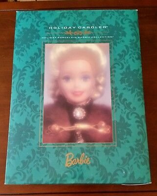 Holiday Porcelain Collection ~ Holiday Caroler Barbie ~ MINT Free Shipping