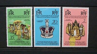 NEW HEBRIDES FRENCH 1977 Silver Jubilee. Set of 3. Mint Never Hinged. SGF231/233