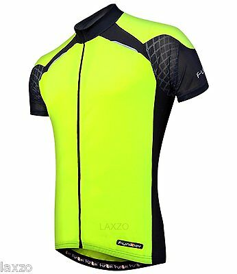 Funkier J-730-1 Gents Active Short Sleeve Bike Cycling Jersey in Yellow/Black