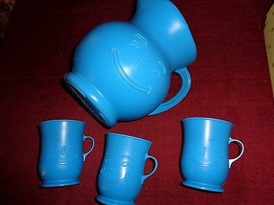 Rare - Vintage Blue Kool-Aid Pitcher And Three Cups