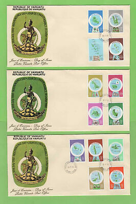 Vanuatu 1980 (English) Set of 13 definitives on three First Day Covers
