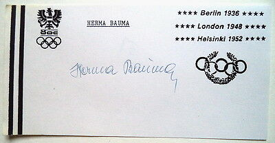 Herma Bauma 1948 Olympic Javelin Gold Medal Autograph