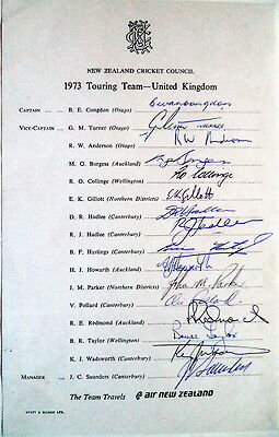 New Zealand To England 1973 Cricket Official Autographs