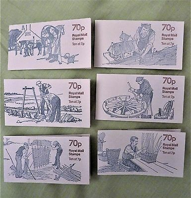 6 complete / unused 70p books GB stamps Country Crafts Illustrated by Eric Stemp
