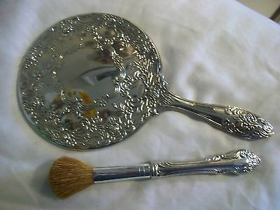 Vintage Ornate Etched Silver-Plate Hand Vanity Mirror And Powder Brush