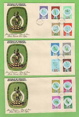 Vanuatu 1980 (French) Set of 13 definitives on three First Day Covers