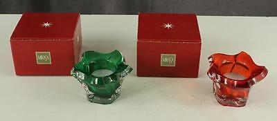"""Modern MIKASA Set CHRISTMAS Pacific Wave Red & Green Votive Candle Holders 2.75"""""""
