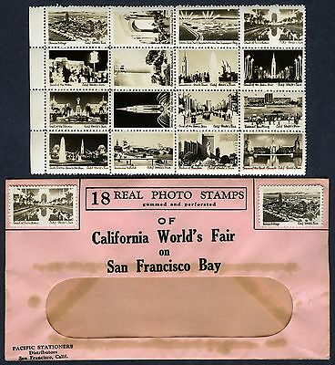 (18) REAL PHOTO STAMPS of GGIE CALIFORNIA GOLDEN GATE INTERNATIONAL EXPOSITION