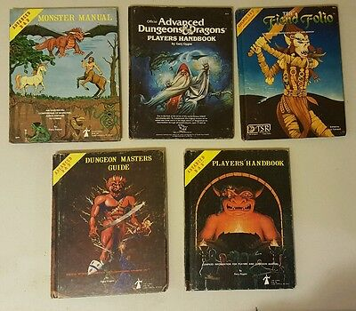 Lot of 5 Advanced Dungeons & Dragons TSR Hard Cover Books Guides D&D