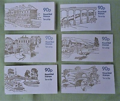 6 unused / complete set 90p books of stamps Canals by Ronald Maddox   Excellent!