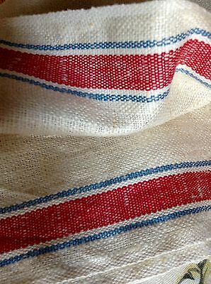 Antique Homespun Linen Flax Cloth Red & Blue Stripe on Edge Country French