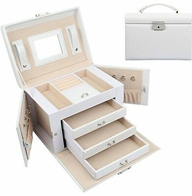 Sungle® Synthetic Leather Large Jewellery Box Gift Case (3 Drawers, White)