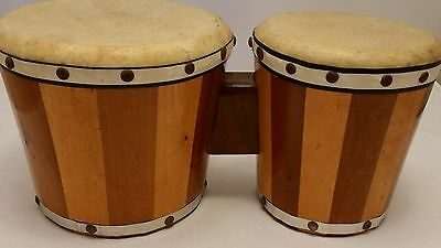 Vntg Wooden Bongo Drums Two Tones 60's