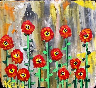 "RED PoPPiES Abstract~Mini 3""x 3""painting KENO FOLK Artist~COASTWALKER~USA"