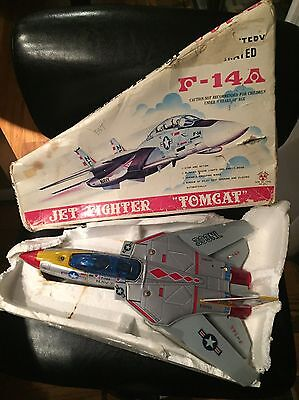 Vintage 1960s Son Al Toys F14A Jet Fighter Battery Operated Original Box Parts
