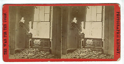 Anthony Civil War Stereoview - Shell Damage in Dunlop House, VA #3035