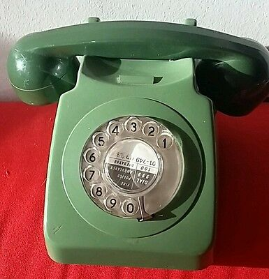 Original Vintage Retro 1960's GPO 746 Rotary Dial Green Telephone faulty