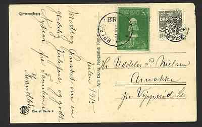 Postal Card Gandløse Stjernestempel 1915 with Christmas seal