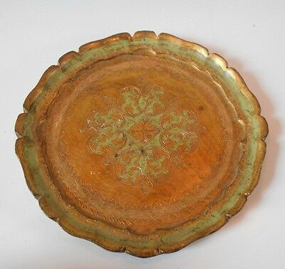 Vintage Italian Florentine Gold Tole Wood Tray Italy Round Green Gold Incised II