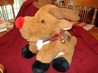 "VTG 1993 J.C. Penney Christmas Moose Plush Lg  21"" X 14"" Plaid W Ribbon Bells"