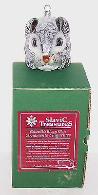 Wonderful Slavic Treasures Poland Gray Squirrel Head Blown Glass Ornament In Box