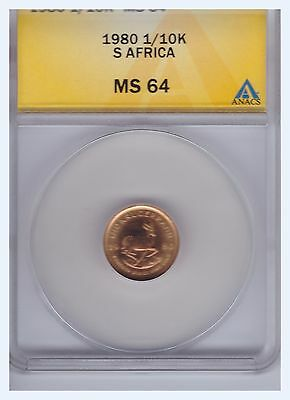 1980 South Africa 1/10 Krugerrand Gold Coin ANACS MS-64