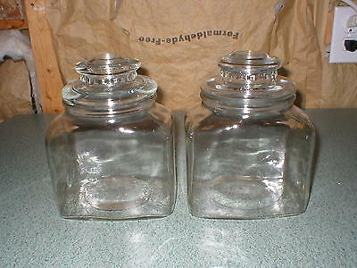 2 Vintage Rectangle Glass Apothecary Jar/Canister Cookie/Candy/Wedding