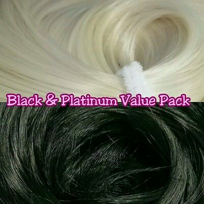 Black & Platinum XL 4oz 2 Color Value Pak Nylon Hair Reroot Barbie Monster High