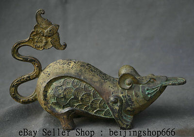 """8"""" Old Chinese Pure Bronze Feng Shui Zodiac Year Wealth Mouse Rat Bat Sculpture"""