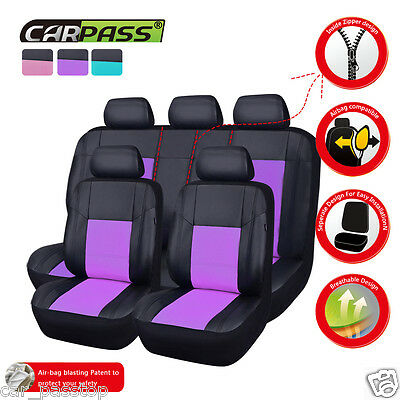 Universal Purple black PU Leather Car Seat Cover Set Front Rear Airbag Fit
