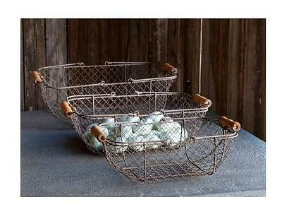 FRENCH FARMHOUSE WIRE RECTANGLE GATHERING BASKETS~Set of Three