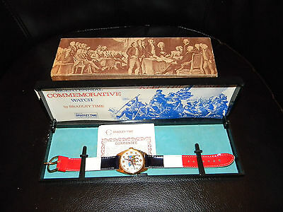 Bradley time 1976 Keep The Spirit Watch in Original Case Red, White, Blue Band