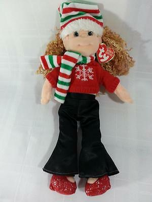 "Ty Beanie Bopper Festive Fannie with Heart Tag Winter Christmas Doll 12"" Tall A2"
